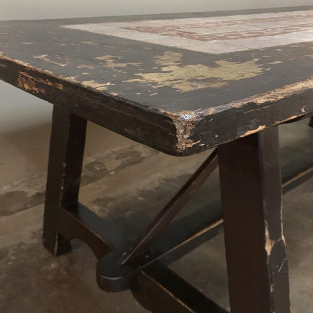 Red 19th Century Spanish Table With Marble Tiles For Sale - Image 8 of 13