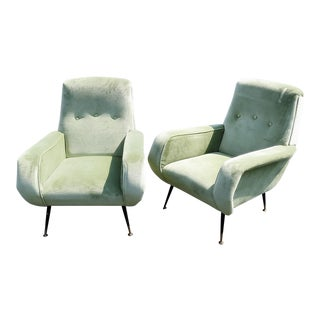 Pair of Italian Mid Century Modern Lounge Chairs For Sale