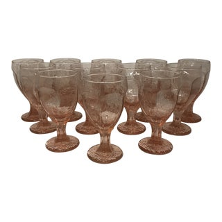 1980s Libbey Rock Sharpe Chivalry Pink Textured Water Goblets - Set of 12 For Sale