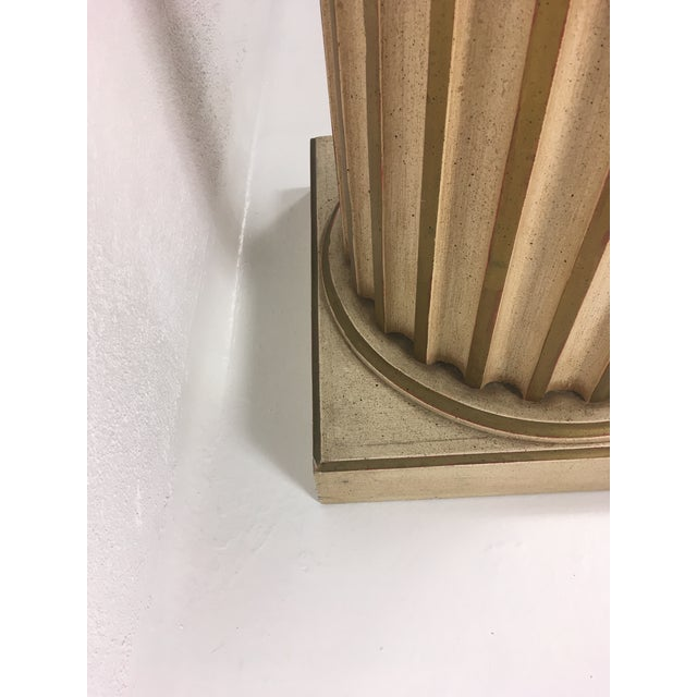 This is a mid century oak Column, painted gold and white. It has a white Carrera marble top.Great for a side table or...