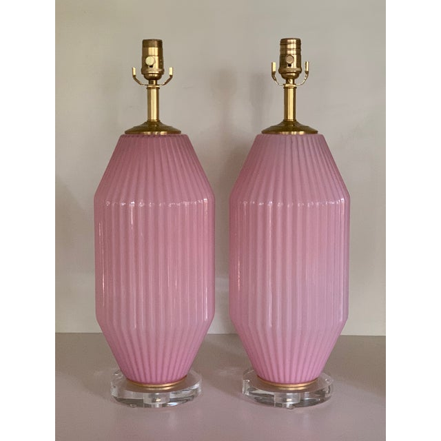 Metal Vintage Pink Murano Art Deco Glass Table Lamp Pair For Sale - Image 7 of 11