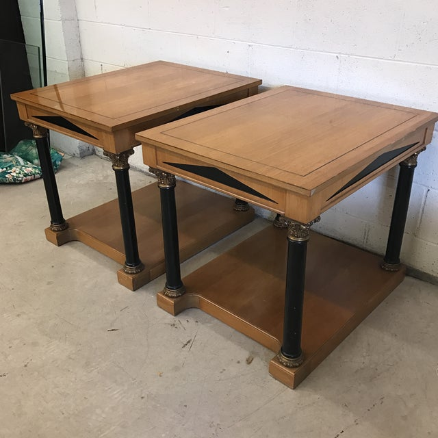 French Neoclassical Style Wood End Tables - A Pair For Sale - Image 3 of 11