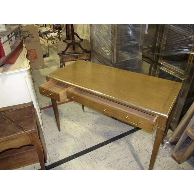 Very Chic Mid-century Mahogany & Brass Inlaid Writing Table - Image 5 of 10