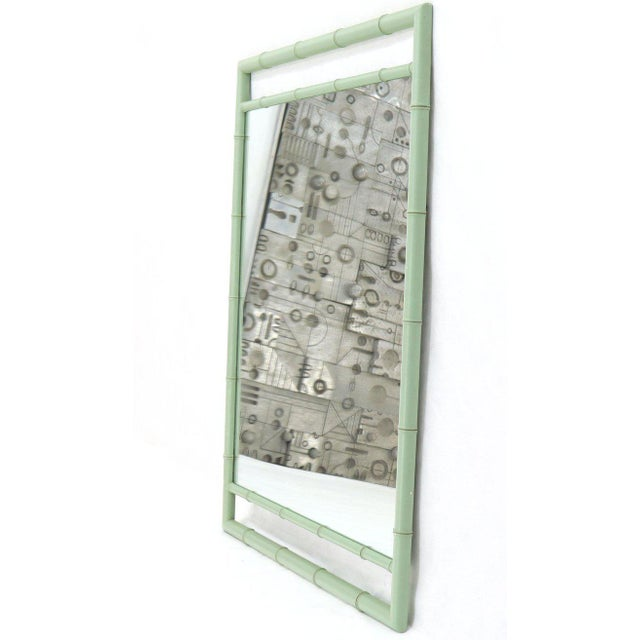 Rectangular Blue Lacquer Faux Bamboo Mirror by Kittinger Mandarin Collection For Sale - Image 9 of 9