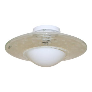 1980s Modern Murano Glass Ceiling Lamp White For Sale