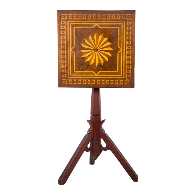 19th C. Victorian Tilt-Top Marquetry Occasional Table For Sale