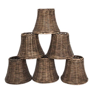 Wicker Bell Shaped Chandelier Shades - Set of 6 For Sale