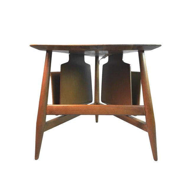 Edward Wormley for Dunbar Wedge Shaped Magazine Table in Sap Walnut & Malabar For Sale
