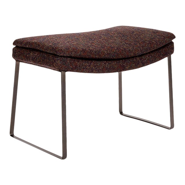 B&b Italia Eggplant Wool Upholstered Ottoman With Bronze Nickel Painted Base For Sale