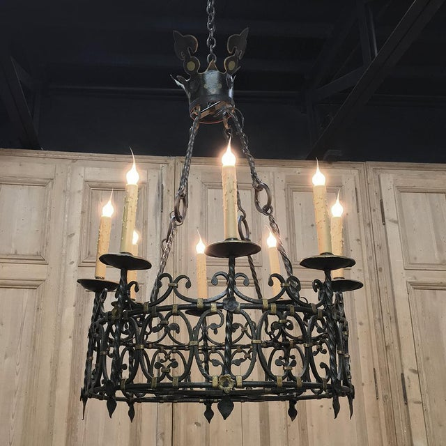 Black Antique Country French Wrought Iron Chandelier For Sale - Image 8 of 11