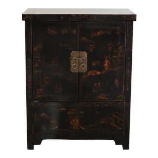 Late 20th Century Black Lacquer and Gilt Painted Cabinet For Sale