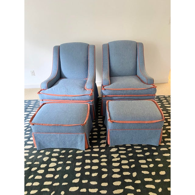 Custom Made Large Swivel Chairs With Ottomans - 4 Pieces For Sale - Image 13 of 13