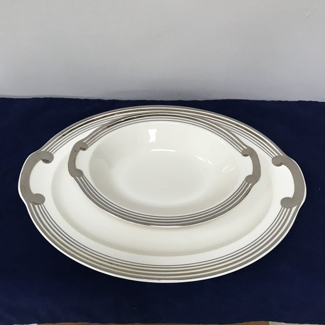"""Platinum Bands"" by Taylor, Smith & Taylor was just produced in the forties. Very classic pattern of 5 platinum bands on..."