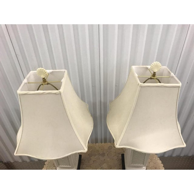 Vintage Italian White Ceramic Black Wood Scroll Base Lamps - a Pair For Sale In Miami - Image 6 of 8