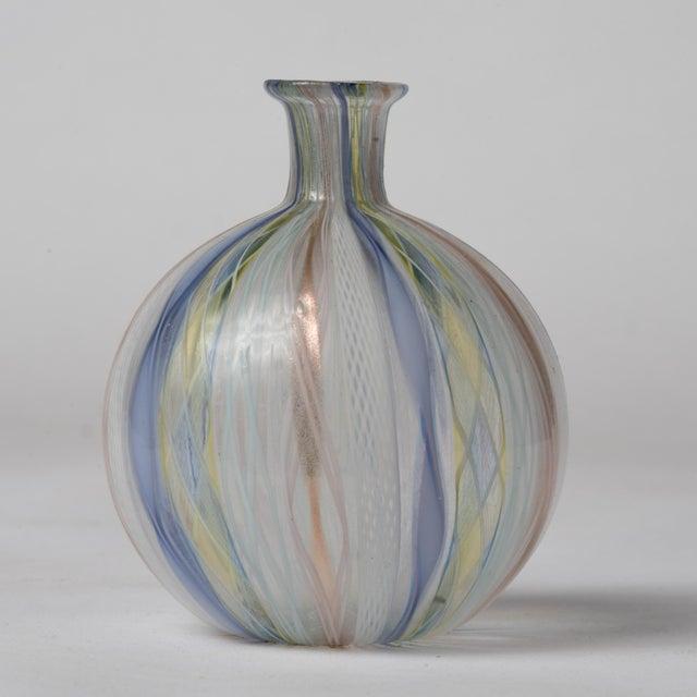 Transparent Mid Century Murano Latticino Zanfirico Italian Ribbons Art Glass Bud Vase For Sale - Image 8 of 8