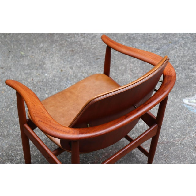 Wood 1960s Mid-Century Modern Arne Hovmand Olsen Teak Back Chair For Sale - Image 7 of 13