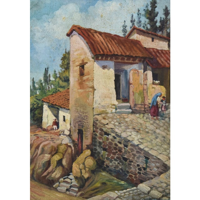 Oil Paint Early 1900s Italian Mediterranean Village Oil Painting For Sale - Image 7 of 10