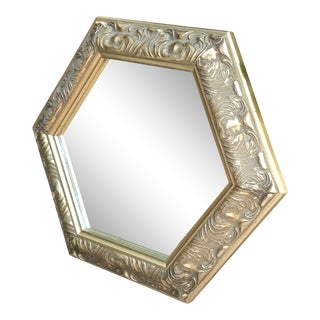 Hexagonal Mirror With Ornate Gold Frame For Sale
