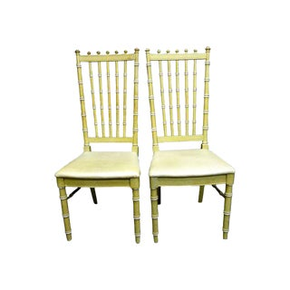 Vintage Thomasville Faux Bamboo Dining Chairs - a Pair Hollywood Regency For Sale