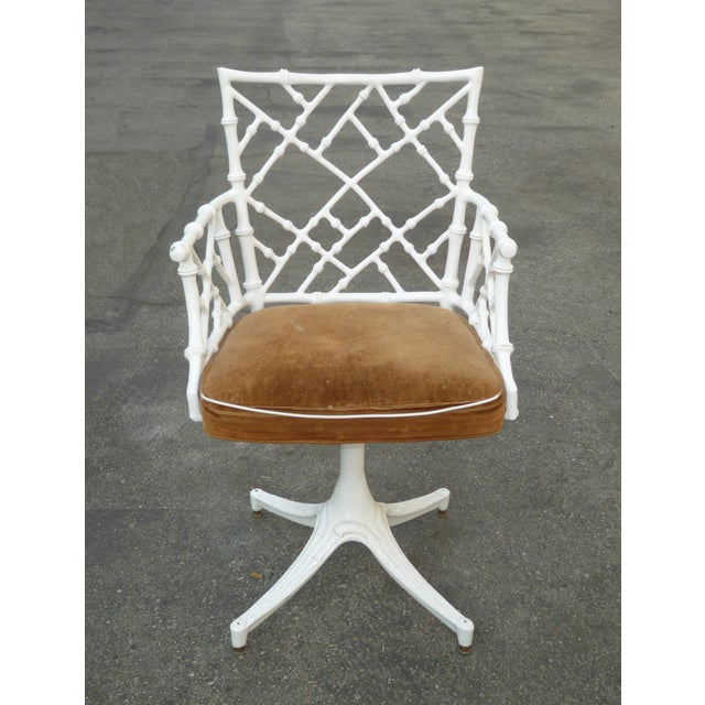 White Vintage Mid Century Modern White Faux Bamboo Chinese Chippendale Swivel Chair For Sale - Image 8 of 8