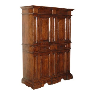 Vintage Italian Elm Baroque Style Cabinet For Sale