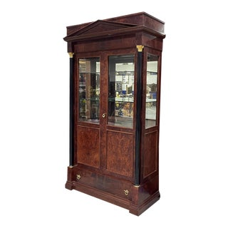 Italian Mahogany Neoclassical China Display Cabinet For Sale