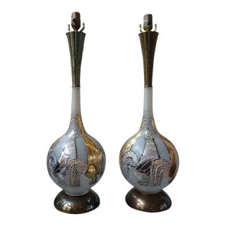 Vintage Italian Blown Glass Rooster Lamps-A Pair For Sale