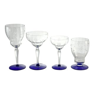 1920s Cobalt Cut-Crystal Stems - Set of 16 For Sale