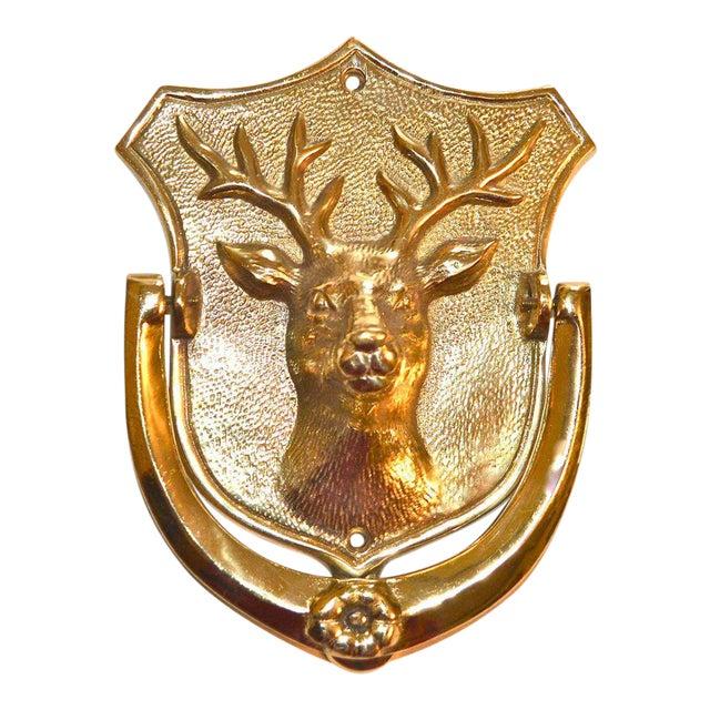 Stag Brass Door Knocker For Sale
