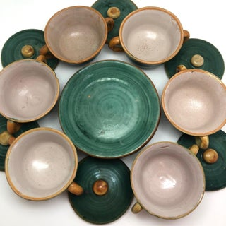 Vintage Italian Faience Green and Orange Lidded Bowls and Plates - Set of 6 Preview