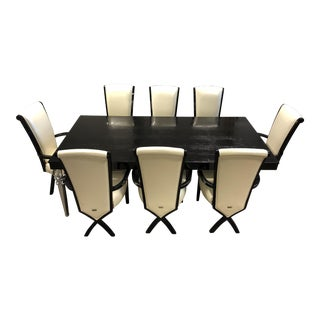 A&x Baccarat Transitional Black Crocodile Dining Table For Sale