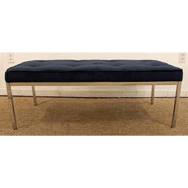 Danish Modern Milo Baughman Style Mid-Century Modern Blue Chrome Bench For Sale - Image 3 of 11