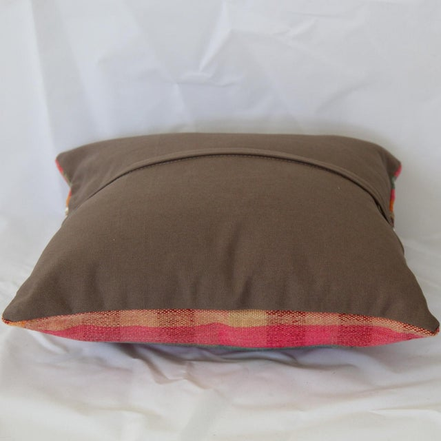 Red Turkish Handmade Wool Kilim Pillow Cover For Sale - Image 8 of 8