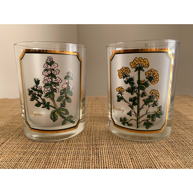 1950s Vintage Culver 'Thyme & Parsley' Old Fashion Glasses - a Pair For Sale - Image 12 of 12