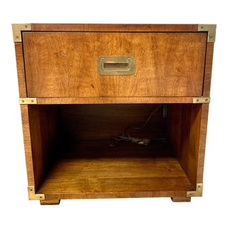 Vintage Henredon Campaign Style Nightstand For Sale