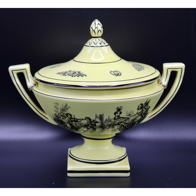 Mid 20th Century Italian Mottahedeh Yellow Handled Urn With Artichoke Lid For Sale - Image 6 of 13