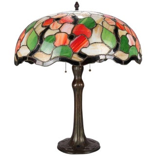 1910 Antique Arts & Crafts Leaded Mosaic Slag Glass Poppy Floral Table Lamp For Sale