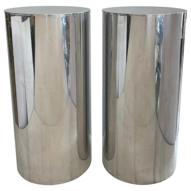 "33"" Drum Pedestals Stainless Steel by Paul Mayen for Habitat - a Pair For Sale - Image 10 of 11"