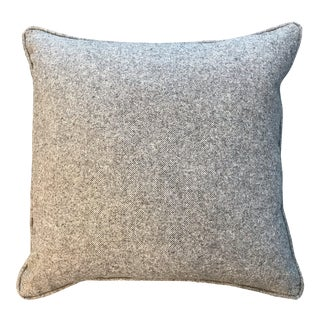 British Traditional Grayish Brown Wool Herringbone Pillow (New) For Sale