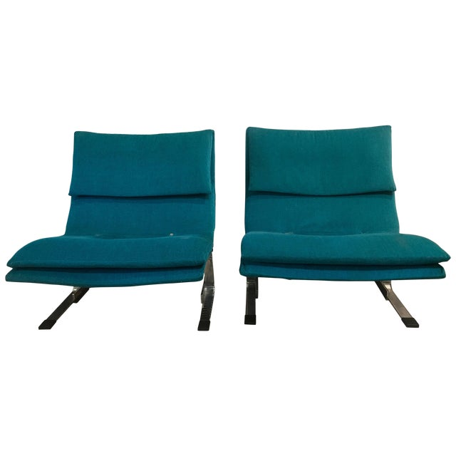 Pair of Italian Chrome Lounge Chairs Restored Saporiti For Sale