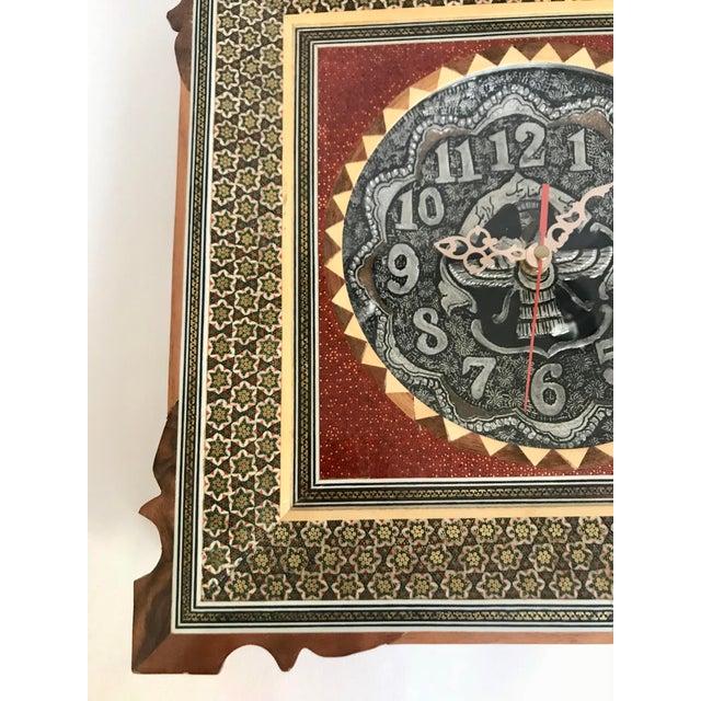 Khatam Kari Signed Original Wood Inlay Clock - Image 3 of 6