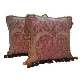 """Vivaldi"" Mottled Raspberry Rose Soft/Metallic Gold Fortuny Pillows - A Pair For Sale"