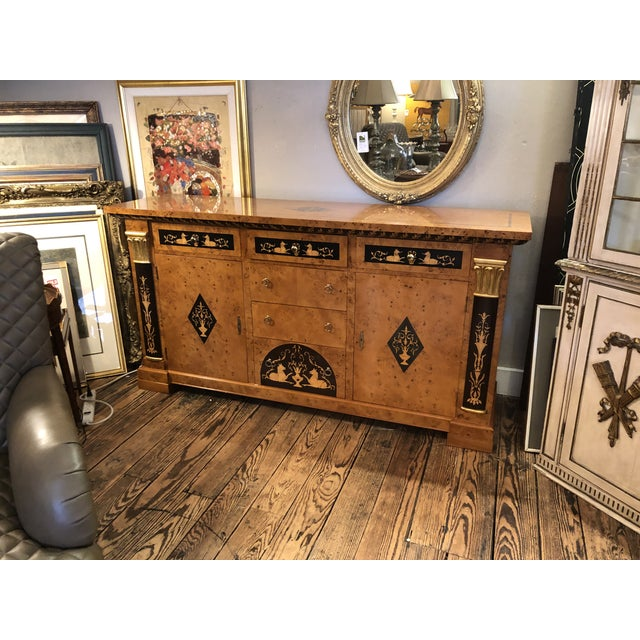 Francesco Molon ornately inlaid Italian neoclassical style or Empire credenza buffet cabinet. The mix of blonde honey...