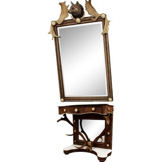 1860 Antique Antler Mirror With Console Table For Sale