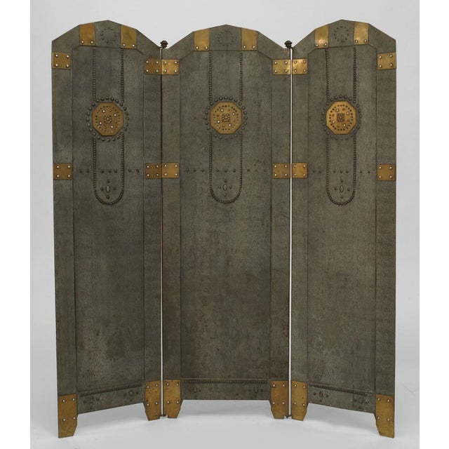 Art Deco Austrian Secessionist Tole Painted 3 Panel Fire Screen For Sale - Image 3 of 3