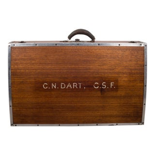 Wooden Suitcase With Leather Handle C.1940 For Sale