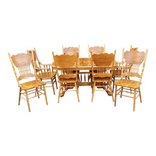 1990s Oak Trestle Kitchen Table W/ 2 Leaves ~ 8 Press Back Dining Chairs For Sale