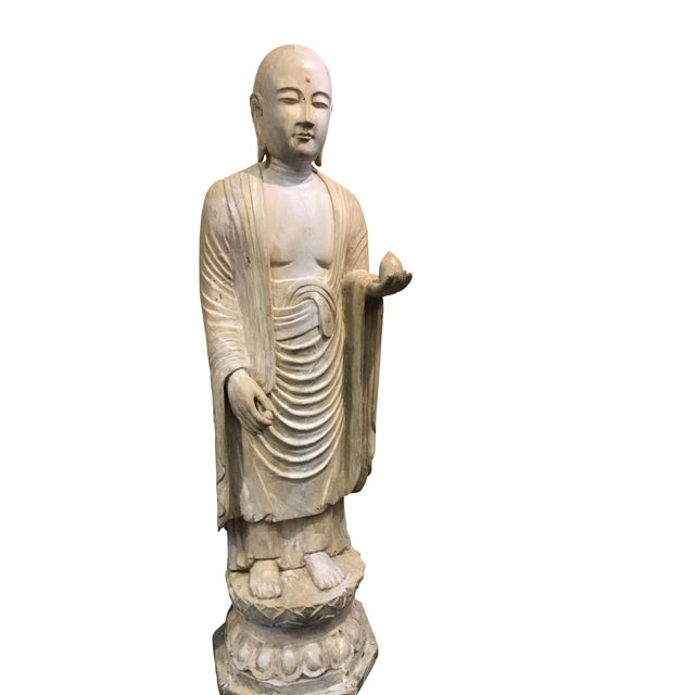 Figurative 19th Century Hardwood and Polychrome Standing Buddhist Figure For Sale - Image 3 of 5