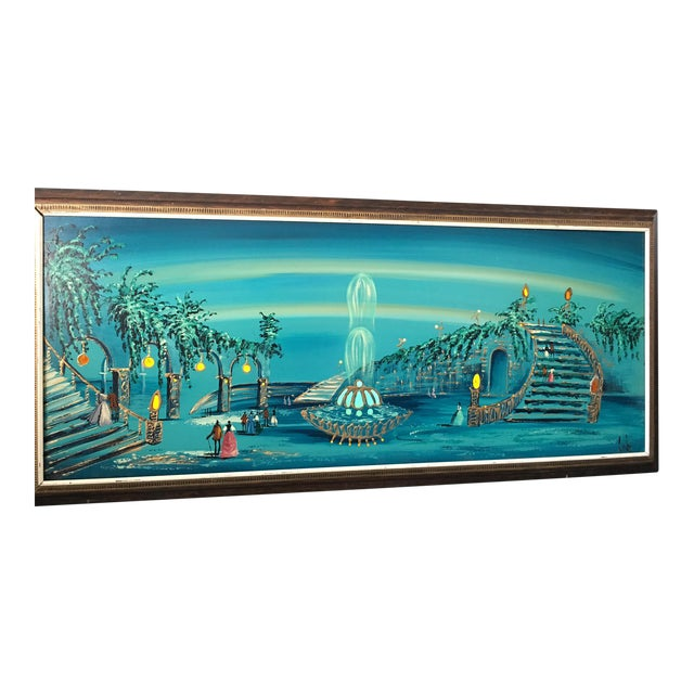 Mid Century Modern Light-Up Oil Painting Signed by Carlo - Image 1 of 9