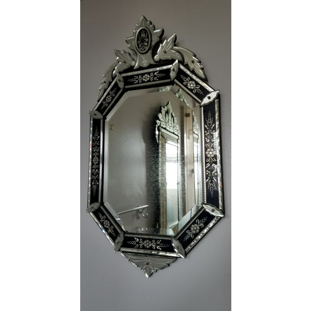 Vintage Mid-Century Venetian Style Black Banded Mirror For Sale - Image 4 of 12